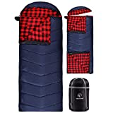 REDCAMP Flannel Sleeping Bag for Adults, Large Cotton Sleeping Bags for Camping with Detachable Hood, Red Plaid with 3lbs Filling (91'x33')