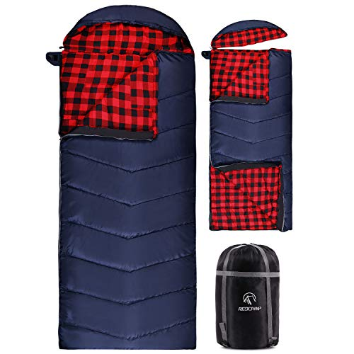 """REDCAMP Cotton Flannel Sleeping Bag for Camping, 41F/5C Cold Weather Warm and Comfortable, Envelope Blue 4lbs(75""""x33"""")"""