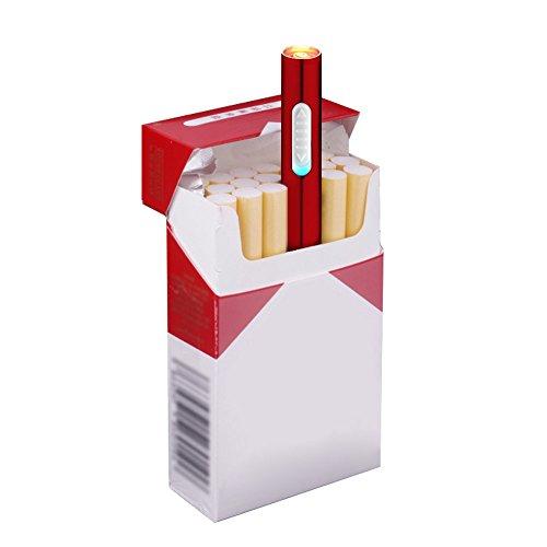 Pantheraa Mini USB Feuerzeuge Wiederaufladbar Winddicht Flammenlose Elektronische Plamsa Feuerzeug Tragbar,Rot