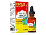 Kiddivit Baby Iron Liquid Drops with Vitamin B12 & Folate - 60 Daily Servings, 2 Fl Oz (60 mL) - Inulin Fortified (Prebiotic, Dietary Fiber) - Sugar Free, Gluten Free, Vegetarian Friendly