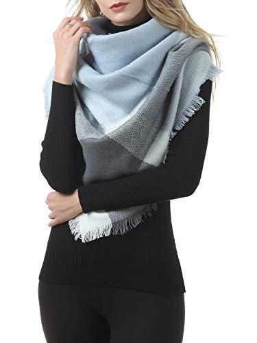 Durio - Bufanda de invierno para mujer, XXL, a cuadros Color azul y gris. Talla única