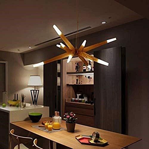 YANGQING Lámpara de luz LED moderna luz estilo madera altura ajustable creativa sala de estar comedor dormitorio estudio bar decoración acrílico lámpara lámpara de araña acogedora