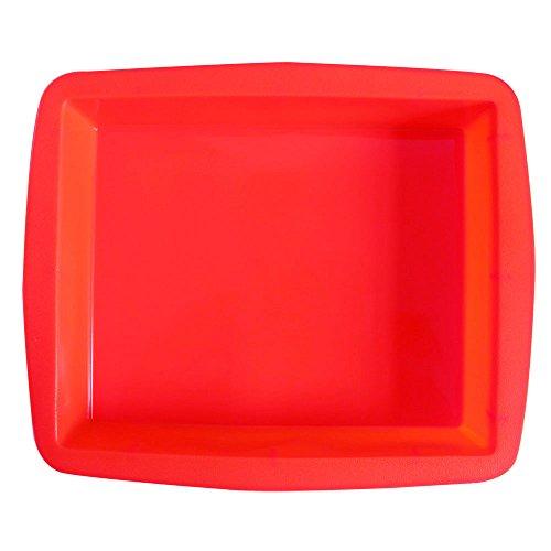 BAKER DEPOT Große rechteckige Silikonform für Kuchenherstellung Brotform Rot Farbe