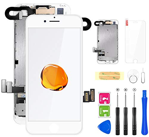 FLYLINKTECH Display per iPhone 7 Schermo Bianco Vetro 4,7' LCD Touch Screen Digitizer Parti di Ricambio (con Fotocamera, Sensore Flex, Altoparlante Auricolare) Kit Smontaggio trasformazione