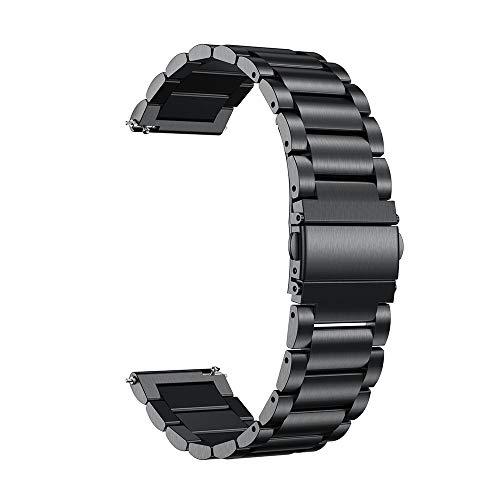 Pulseira de relógio universal de aço inoxidável 20/22 mm da Szkn para Ticwatch/Moto 360 2nd 460/Samsung Gear S3/Huawei GT Pulseira de metal preta 20 cm