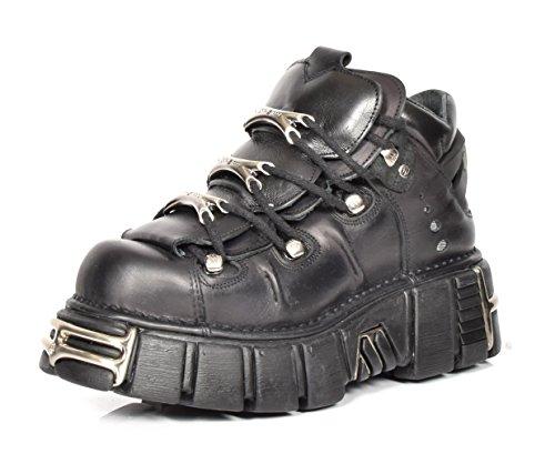 New Rock Botines de Cuero Cordones Zapatos de Plataforma Metálicos Estilo Gótico Retro Negro (EU 40)