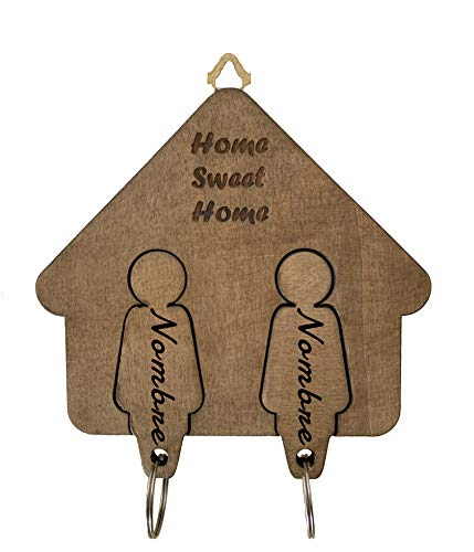 UZ Design Home Sweet Home Llavero Personalizado de Madera Pareja para Casa Regalos Originales para Hogar Decoracion Pared Entrada, Mujer-Mujer