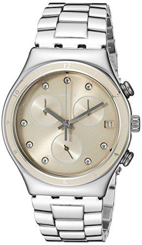 Swatch Damen Chronograph Quarz Uhr mit Edelstahl Armband YCS583G