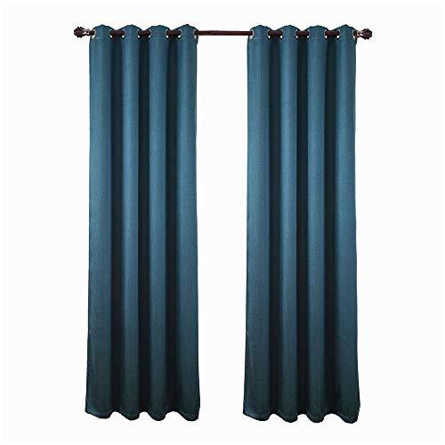 Cortinas DE ORIFICIOS De Lujo Calidad Blockout De Terciopelo De Lino Puro Verde Azulado Azul Oscuro De Tela