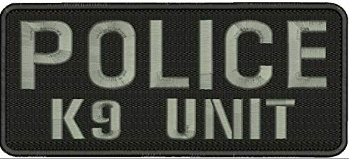 Police K9 Unit Embroidery Patches 4X10 Hook On Back Letters in Grey by HightSeller