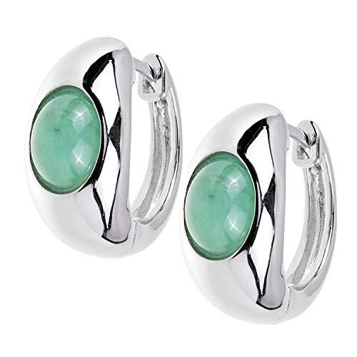 Yvesse Damen Ohrringe Klapp Creolen aus 925 Silber mit Smaragd für Damen