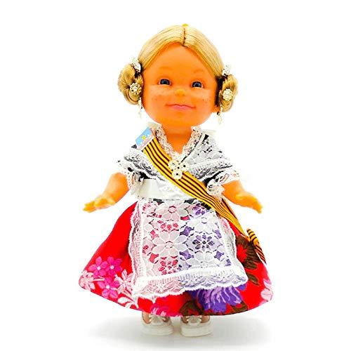 Folk Artesanía Muñeca Lara artesana de 32 cm con Vestido Valenciana o Fallera