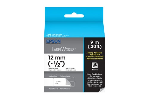 Epson LabelWorks Strong Adhesive LC Tape Cartridge ~1/2-Inch Black on White (LC-4WBW9)