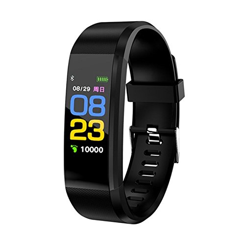 TOOGOO 115plus Smart Bracelet Fitness Tracker Step Counter Smartband Recordatorio de Llamada Anti-Lost para Android iOS (Negro)