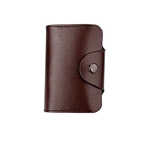Wennew Caja de Tarjeta de crédito para Hombres de Cuero Titular 13 Ranuras para Tarjetas Botón de presión Bloqueo de RFID Minifalda Monedero (Color : Café)
