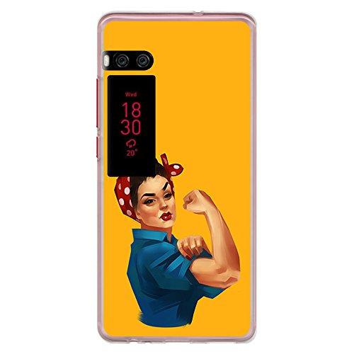 BJJ SHOP Transparent Hülle für [ Meizu Pro 7 ], Flexible Silikonhülle, Design: Starke unabhängige Frau, pin up