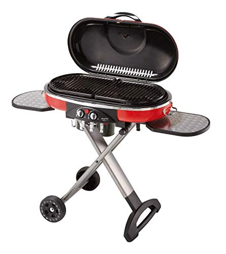 Coleman LXE-J2 Road Trip Grill Bonus Pack with Denim Apron for 5-6 People, Red, Large