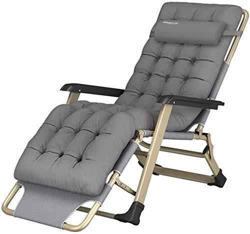 Sedia da ufficio per la casa, sedia a sdraio reclinabile, pieghevole, con cuscino imbottito da giardino, campeggio all'aperto, sdraiato sulla spiaggia - grigio