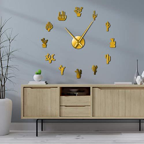 tyjsb Botanical Succulents Mirror Number Sticker Cactus Large DIY Wall Clock Desert Cactaceae Frameless Big Time Frameless Mute Watch 37inch