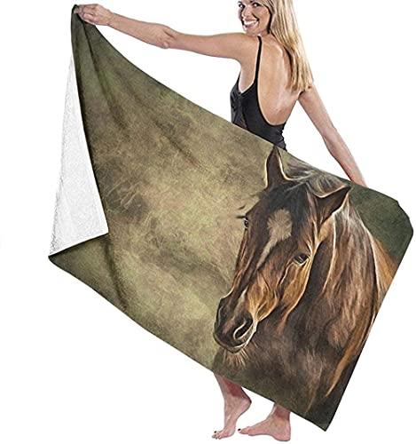 Telo Mare Grande 130 ×80cm, Disegna un cavallo su un vecchio colore vintage,Asciugamano da Spiaggia in Microfibra Asciugatura Rapida,Ultra Morbido,Uomo,Donna,Bambina