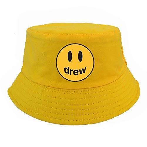 liqun Smile Face Bucket Hat Uomo Donna Drew Design Classico Harajuku Fisherman Hats Uomo Justin Bieber cap Berretto da Pesca, Giallo