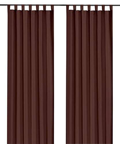 heimtexland ® Dekoschal mit Schlaufen und Kräuselband uni in schoko braun HxB 245x140 cm BLICKDICHT aber Lichtdurchlässig - Vorhang natürlich matt dunkelbraun einfarbig mit wunderschön leichtem Fall - Schlaufenschal Bandschal ÖKOTEX Gardine Typ117