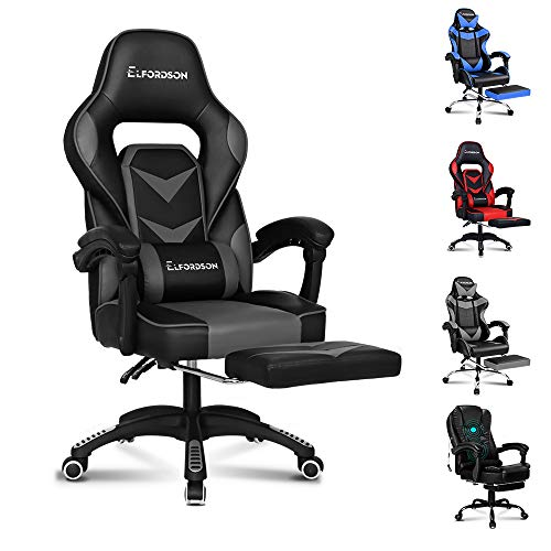 ELFORDSON Gaming Chair Racing Chair Executive Sport Home Office Chair with Footrest PU Leather Armrest Headrest Grey