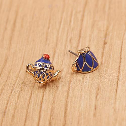 Blaue Teekanne Tassen Ohrringe Nette feine Elegante Art Teekanne Ohrringe für Damen Charme Kreative Schmuck Anzug Geschenk für Frauen Mädchen