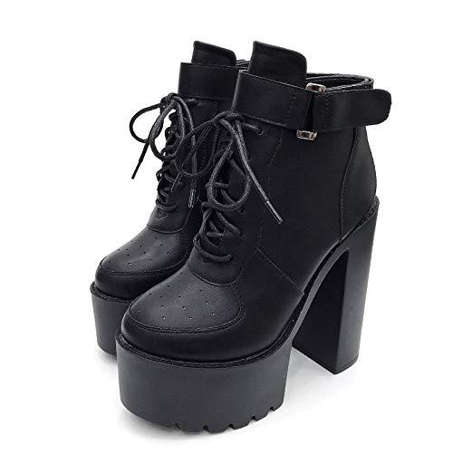 ACWTCHY Schoenen Zwart Platform Laarzen Vrouwen Rits Hoge Hakken Schoenen Lace Up Enkel Laarzen Wit Rubber Zool