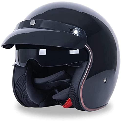 Vintage Motorrad Open Face Halbschale Jethelme Vespa-Helm Retro Style Cruiser Chopper Scooter Biker Helm Herren und Damen Harley-Helm mit Visier, DOT zertifiziert (Farbe: A, Größe: L)