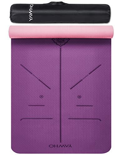 YAWHO Yogamatte hochwertige TPE ist rutschfest ECO Freundlichen Material Das SGS Zertifiziert Maße: 183 cm X 66 cm Höhe 0.6 cm, Design Hilfslinien, licht, umweltfreundlich, langlebig (Violet)