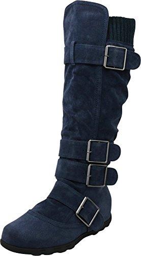 Cambridge Select Women's Buckle Sweater Knee High Flat Boot (8.5 B(M) US, Navy)