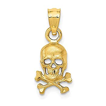 14k Yellow Gold Skull Cross Religious Bones Pendant Charm Necklace Dagger Dragon Fine Jewelry For Women Gifts For Her