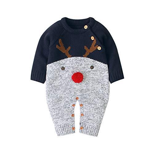 Suéteres de Punto para Bebé Niños de Invierno Mono Mameluco de Manga Larga para Navidad Traje de Nieve 0-24 Meses
