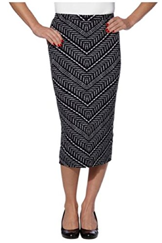 MATTY M. WOMENS MIDI SKIRT! STRETCH FABRIC! EXTREMELY COMFY (XS, BLACK WHITE)