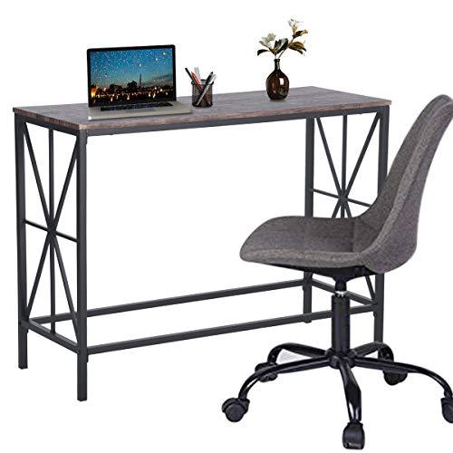 Aingoo Computertisch Industrial Schreibtisch Sofa Eingangstisch mit X-förmigem Metallrahmen für freiberufliche Studenten 100 * 38 * 80,5 cm Braun