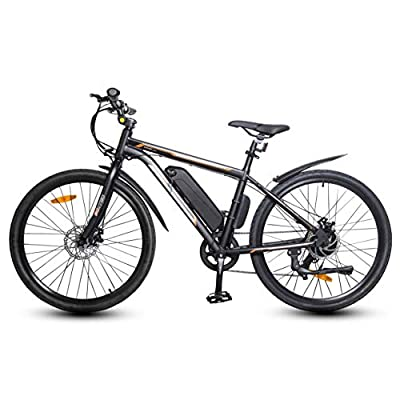 """ECOTRIC 26"""" Electric Bicycle 350W Brushless Motor 36V/10AH City Ebike Removable Lithium Battery Bike Assist Disc Brake 7 Speed System (Black)"""