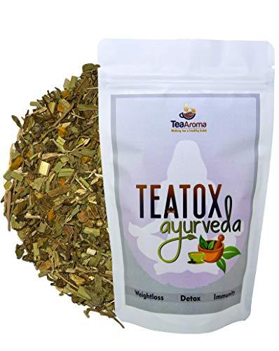 Tea Aroma Teatox Ayurveda - Ayurveda Slimming Tea|14 Ayurveda Herbs & Barks| Weight Loss|Detox|Immunity Booster| Garcinia Cambogia| Triphlaa| Punarnava|Guggul|Papaya Leaves| Organic|100g No Caffeine