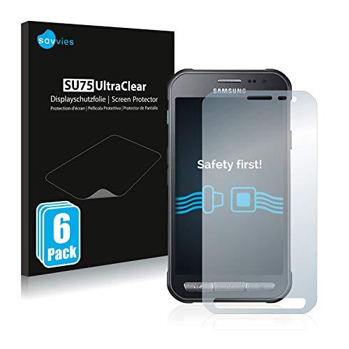 Savvies 6X Schutzfolie kompatibel mit Samsung Galaxy Xcover 3 Displayschutz-Folie Ultra-transparent