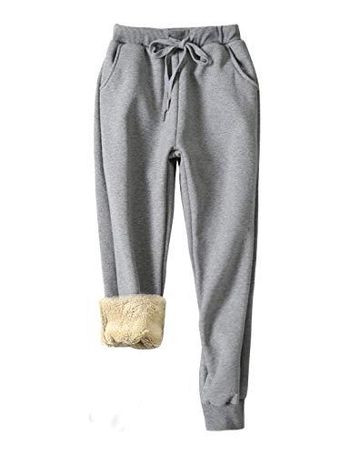 Yeokou Women's Warm Sherpa Lined Athletic Sweatpants Jogger Fleece Pants (Large, Light Grey)