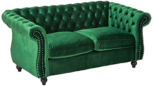 Karen Traditional Emerald and Dark Brown Chesterfield Loveseat Sofa