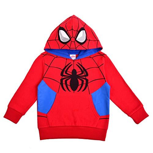 Marvel Spiderman Hoodie for Boys, Superhero Pull-Over Hooded Costume Sweatshirt, Red & Blue, Size 2T