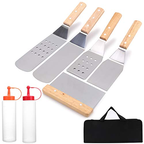 Yarlung 7 Pieces BBQ Grill Accessories Kit, Stainless Steel Griddle Spatula Scraper Grilling Utensils Set for Hibachi, Teppanyaki Grill, Barbecue, Outdoor Cooking, Camping, Wooden Handle, Black Bag