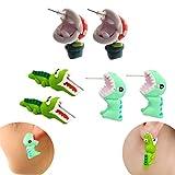 IYSHOUGONG 3 Pair 3D Clay Earrings Handmade Biting Your Ear Animal Polymer Clay Stud Earrings for Women(Dinosaur,Chomper,Alligator)