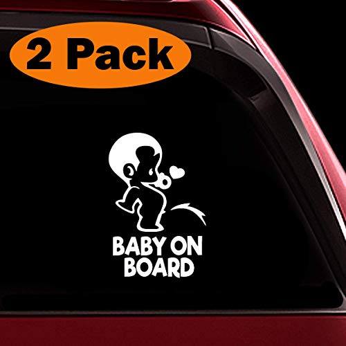 TOTOMO Baby on Board Sticker - (Set of 2) Funny Cute Cool Safety Caution Decal Sign for Car Windows and Bumpers - Peeing Boy ALI-035