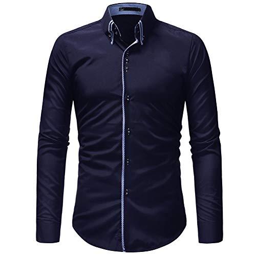 CHENS Langarm/Slim fit/Strand/L s Fashion Men Shirt Langarm Doppelkragen Tür Access Closure Shirt Männer Casual Slim Fit Männliches Hemd