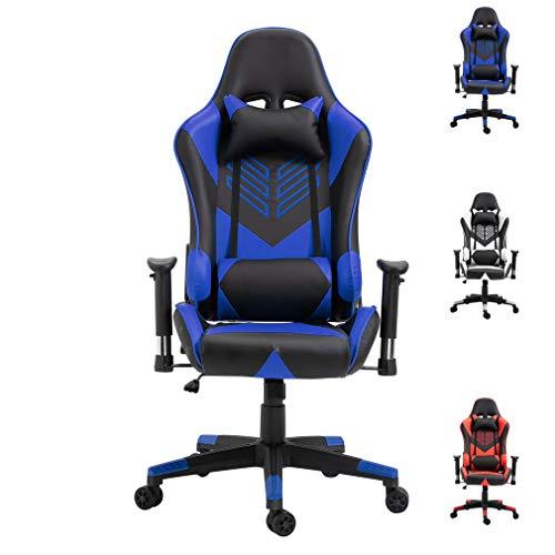 Gaming Stuhl Bürostuhl Schreibtischstuhl mit Armlehne Gamer Stuhl Drehstuhl Höhenverstellbarer Gaming Sessel PC Stuhl Ergonomisches Chefsessel (Blau + Schwarz)