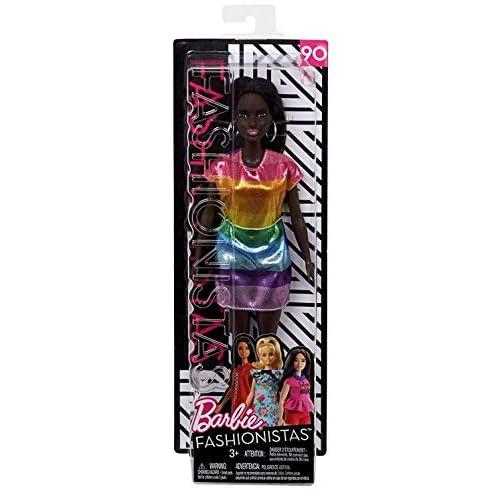 Barbie Fashionistas Bambola in Vestito con Glitter Arcobaleno, Multicolore, FJF50