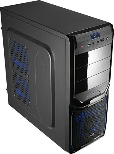Aerocool V3XAD - Caja gaming para PC (semitorre, ATX, 7 ranuras de expansión, capacidad hasta 4 ventiladores, incluye ventilador trasero 8 cm y frontal LED rojo 12 cm, USB 2.0/3.0), color negro y azul