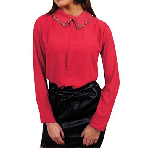 NPRADLA 2018 - Blusa para mujer, elegante, larga, para otoño e invierno, para trabajo, oficina, manga larga, cuello vuelto, con botón Z-rojo. XL